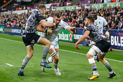 Paul Jedrasiak of ASM Clermont Auvergne takes on Dan Biggar of Ospreys during the European Rugby Challenge Cup match between Ospreys and ASM Clermont Auvergne at The Liberty Stadium, Swansea on 15 October 2017. Photo by Andrew Lewis.