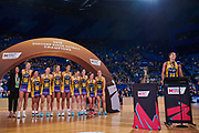 LIghtning's Geva Mentor gives her speech after winning the Grand Final.<br />  PERTH, AUSTRALIA - AUGUST 26: West Coast Fever vs the Sunshine Coast Lightning during the Suncorp Super Netball Grand Final match from Perth Arena - Sunday 26th August 2018 in Perth, Australia. (Photo by Daniel Carson/dcimages.org/Netball WA)