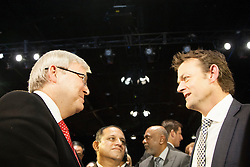 © Licensed to London News Pictures. 30/7/2013. Prime Minister Kevin Rudd speaks to Adam Gilchrist during the official launch of the I.C.C Cricket World Cup to be held in Australia and New Zealand in 2015, Melbourne, Australia. Photo credit : Asanka Brendon Ratnayake/LNP