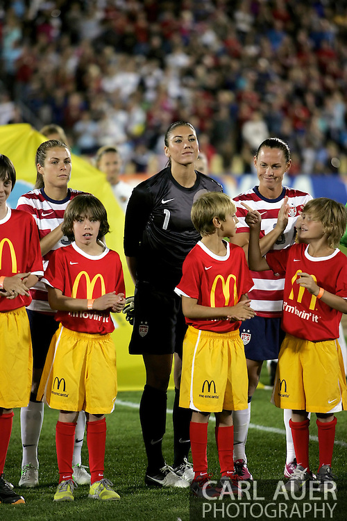 September 19, 2012 Commerce City, CO.  USA gk Hope Solo (1) and teammates are introduced prior to the Soccer Match between the USA Women's National Team and the Women's Australian team at Dick's Sporting Goods Park in Commerce City, Colorado