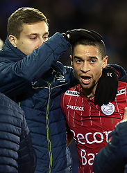 November 26, 2017 - Brugge, Belgique - Nill De Pauw midfielder of SV Zulte Waregem is embraced by staff after scoring during the Jupiler Pro League match (Credit Image: © Panoramic via ZUMA Press)