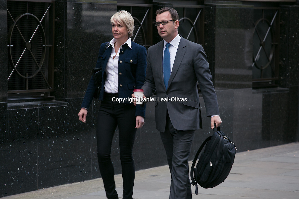 Andy Coulson begins giving evidence - Phone hacking trial. Former News of the World editor and Downing Street communications chief Andy Coulson (R) and his wife Eloise arrives at Old Bailey for the phone-hacking trial. Old Bailey, London, United Kingdom. Tuesday, 15th April 2014. Picture by Daniel Leal-Olivas / i-Images