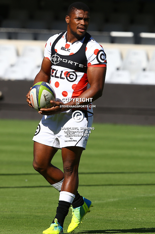 DURBAN, SOUTH AFRICA, 22,MARCH, 2016 - S'bura Sithole during The Cell C Sharks training session  at Growthpoint Kings Park in Durban, South Africa. (Photo by Steve Haag)<br />