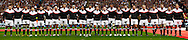 A panorama from 5 merged photographs showing the England team lined up for the national anthem before the Investec series international between England and the New Zealand All Blacks at Twickenham, London, Looks on Saturday 6th November 2010. (Photo by Andrew Tobin/SLIK images)