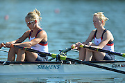 Varese,  ITALY. 2012 FISA European Championships, Lake Varese Regatta Course. ..GBR LW2X, Bow Ruth WALCZAK and Imogen WALSH  at the start of their heat of the Women's lightweight Sculls..10:56:50  Friday  14/09/2012 .....[Mandatory Credit Peter Spurrier:  Intersport Images]  ..2012 European Rowing Championships Rowing, European,  2012 010707.jpg.....