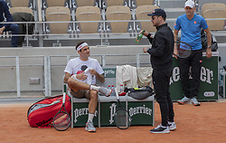 Roger Federer, Severin Luthi, Ivan Ljubicic, training ahead the Roland Garros French Open tournament, on May 21, 2019 in Paris, France. Photo by ABACAPRESS.COM