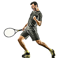 one caucasian mature tennis player man happy winner strong powerful full length silhouette in studio isolated on white background