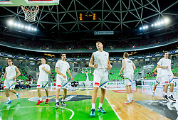 Edo Muric of Slovenia at warming up prod to the friendly basketball match between National Teams of Slovenia and Brasil at Day 2 of Telemach Tournament on August 22, 2014 in Arena Stozice, Ljubljana, Slovenia. Photo by Vid Ponikvar / Sportida