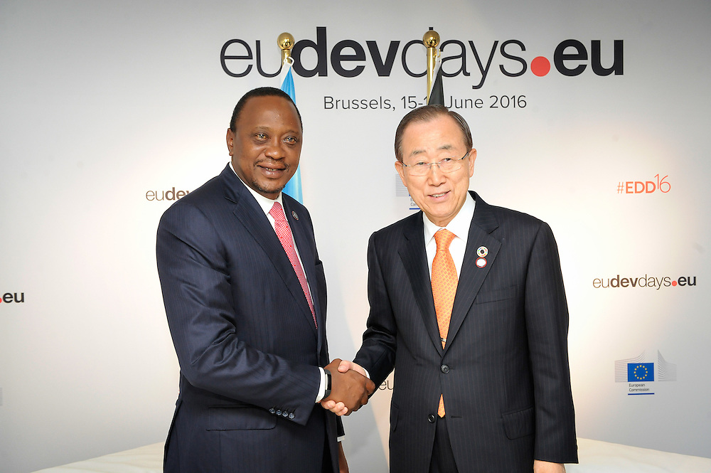 20160615 - Brussels , Belgium - 2016 June 15th - European Development Days - Bilateral Meeting Ban Ki-Moon<br /> Secretary General, United Nations<br /> Uhuru Kenyatta and <br /> President and Commander-in-chief of the Defence Forces, Republic of Kenya<br /> © European Union