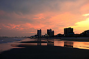A Myrtle Beach skyline at sunset.