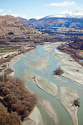 An aerial of the braided Shotover River, Queenstown, New Zealand