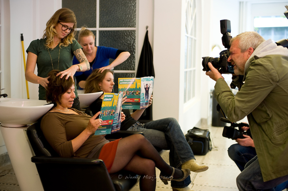 Meyrem Almaci launches her campaign magazine in a ecological hairdressing salon 3 weeks before the local elections. Antwerpen, Belgium
