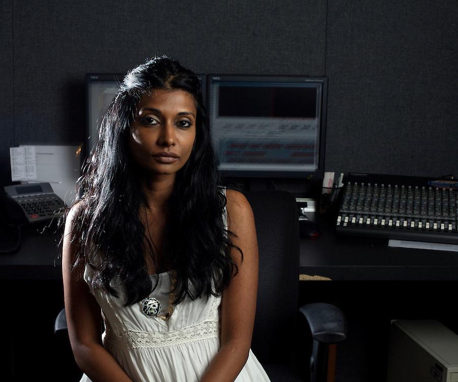 8/15/08 7:22:18 PM -- Washington, DC, U.S.A..Filmmaker Roshini Thinakaran photographed at her editing studio In Washington, DC on Friday, Aug. 15, 2008...Photo by Jay Westcott, Freelance.