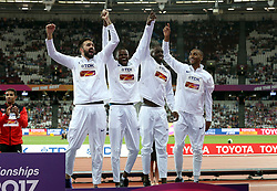 Great Britain's Men's 4x400m relay team (left to right) Martyn Rooney, Rabah Yousif, Dwayne Cowan and Matthew Hudson-Smith with their bronze medals during day ten of the 2017 IAAF World Championships at the London Stadium. PRESS ASSOCIATION Photo. Picture date: Sunday August 13, 2017. See PA story ATHLETICS World. Photo credit should read: Jonathan Brady/PA Wire. RESTRICTIONS: Editorial use only. No transmission of sound or moving images and no video simulation.
