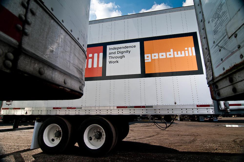 New branding for Goodwill on 18 wheel trailer.