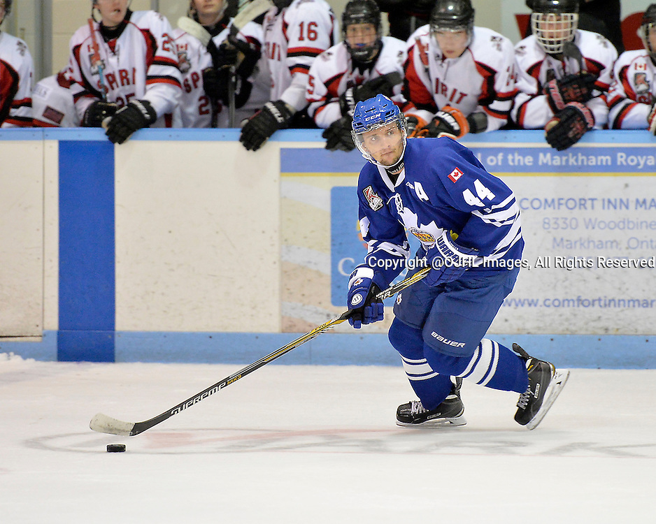 MARKHAM, ON - Sep 11, 2015 : Ontario Junior Hockey League game action between Stouffville and Markham, Joel Knight #44 of the Markham Royals skates with the puck during the second period.<br /> (Photo by Shawn Muir / OJHL Images)