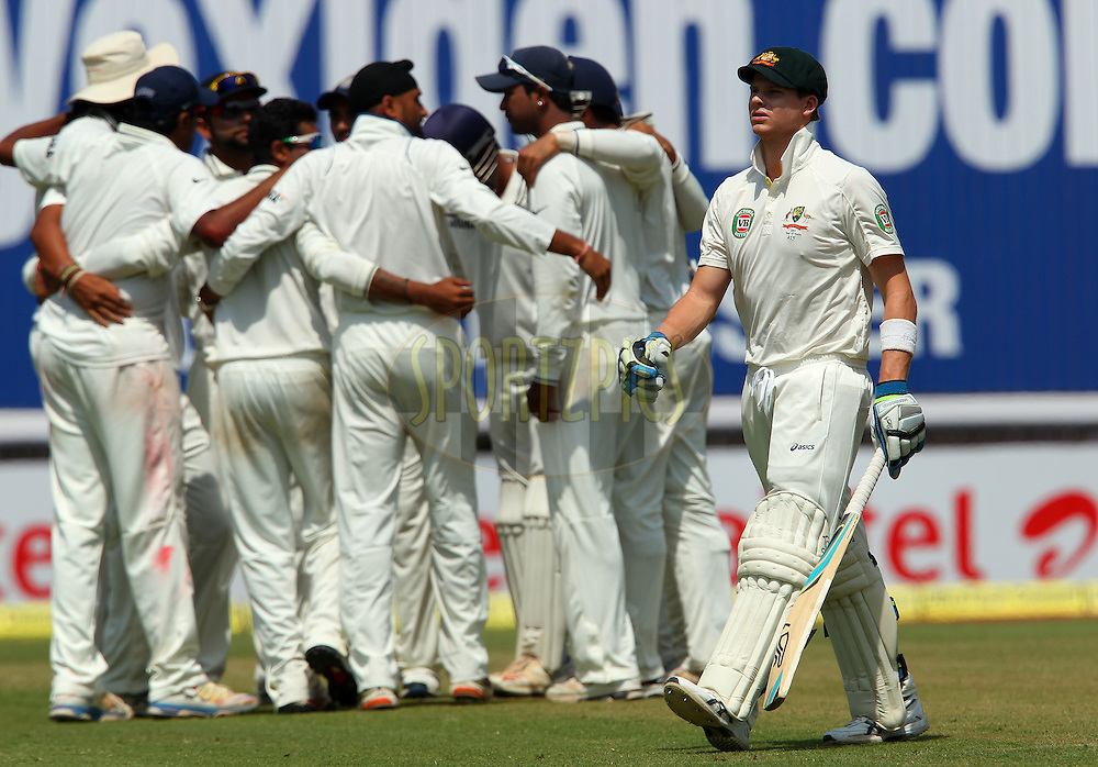 Steven Smith of Australia departs during day 3 of the 4th Test Match between India and Australia held at the Feroz Shah Kotla stadium in Delhi on the 24th March 2013..Photo by Ron Gaunt/BCCI/SPORTZPICS ..Use of this image is subject to the terms and conditions as outlined by the BCCI. These terms can be found by following this link:..http://www.sportzpics.co.za/image/I0000SoRagM2cIEc