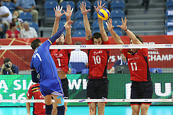 07.09.2014, Krakow Arena, Krakau, POL, FIVB WM, Frankreich vs Belgien, Gruppe D, im Bild KEVIN TILLIE, BRAM VAN DEN DRIES, SIMON VAN DE VOORDE, MATTHIJS VERHANNEMAN // during the FIVB Volleyball Men's World Championships Pool D Match beween France and Belgium at the Krakow Arena in Krakau, Poland on 2014/09/07. <br /> <br /> <br /> ***NETHERLANDS ONLY***
