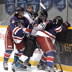 Lindsay, ON - Jan 31 : Ontario Junior Hockey League game action between the Lindsay Muskies and the North York Rangers. Adam Valadao #7 of the North York Rangers Hockey Club and other players battles for the puck during second period game action.<br /> (Photo by Tim Bates / OJHL Images)
