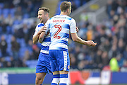 Reading FC striker (7) Roy Beerens celebrates his goal with Reading FC defender (2) Chris Gunter during the EFL Sky Bet Championship match between Reading and Bristol City at the Madejski Stadium, Reading, England on 26 November 2016. Photo by Mark Davies.
