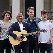 London,England,UK, 22th July 2016 : The Vamps join the Mayor of London Sadiq Khan Launch of International Busking Day '#LondonIsOpen' in Trafalgar Square, London, UK. Photo by See Li