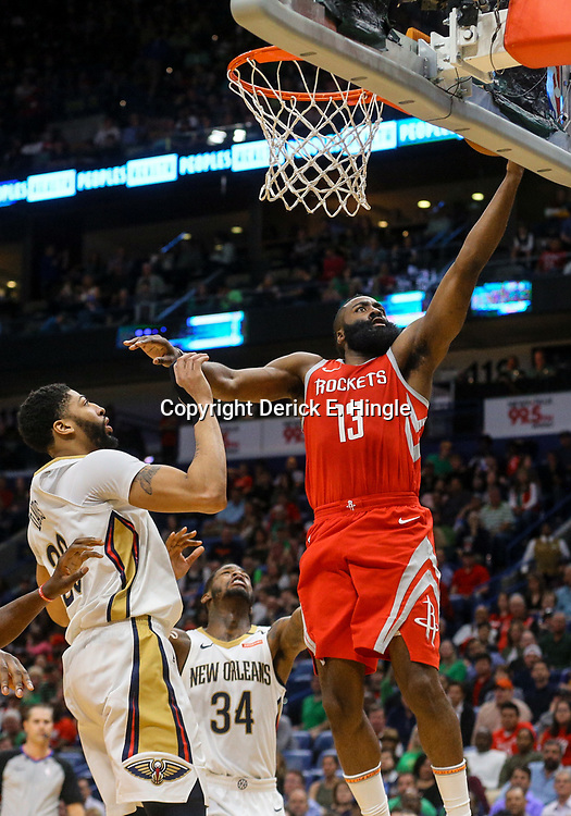 Mar 17, 2018; New Orleans, LA, USA; Houston Rockets guard James Harden (13) shoots over New Orleans Pelicans forward Anthony Davis (23) during the second quarter at the Smoothie King Center. Mandatory Credit: Derick E. Hingle-USA TODAY Sports