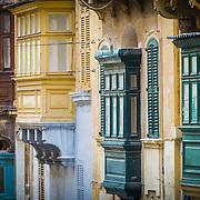 Typical maltese balconies in the streets of Valletta.