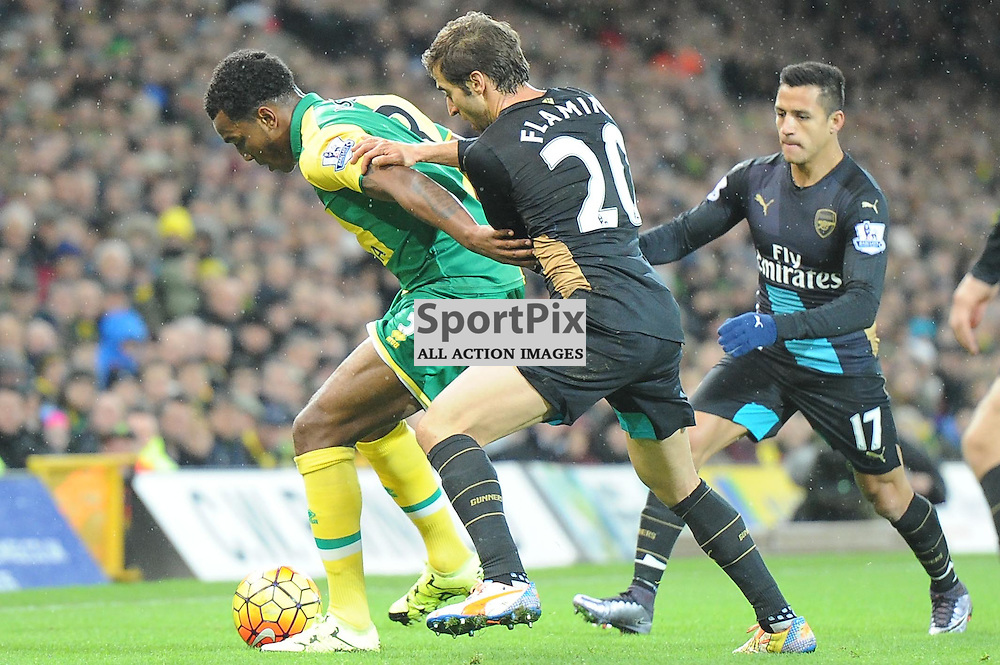 Norwichs Andre Wilson and Arsenals Matthieu Flamini in action during the Norwich v Arsenal game in the Barclays Premier League on Sunday 29th November 2015 at Carrow Road