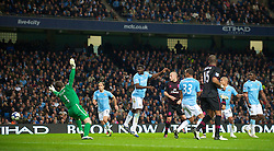 MANCHESTER, ENGLAND - Wednesday, March 24, 2010: Everton's Tim Cahill (hidden) scores the opening goal against Manchester City during the Premiership match at the City of Manchester Stadium. (Photo by David Rawcliffe/Propaganda)