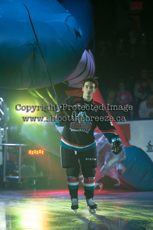 KELOWNA, CANADA - SEPTEMBER 22: Liam Kindree #26 of the Kelowna Rockets enters the ice against the Kamloops Blazers on September 22, 2017 at Prospera Place in Kelowna, British Columbia, Canada.  (Photo by Marissa Baecker/Shoot the Breeze)  *** Local Caption ***