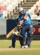 Roelof van der Merwe plays a shot during the first leg of the semi-final in the Standard Bank Pro20 series between the Nashua Mobile Cape Cobras and the Nashua Titans played at Sahara Park Newlands in Cape Town, South Africa on 27 February 2011. Photo by Jacques Rossouw/SPORTZPICS