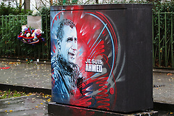 "Grafitti in memory of Paris Police officer Ahmed Merabet who was killed in the Paris ""Charlie Hebdo"" shootings on January 7th 2015"