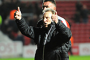 Rotherham United manager Neil Warnock gives the thumbs up to the travelling fans after the final whistle in the 1-1 draw during the Sky Bet Championship match between Bristol City and Rotherham United at Ashton Gate, Bristol, England on 5 April 2016. Photo by Graham Hunt.