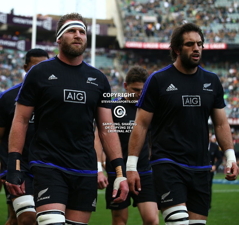 DURBAN, SOUTH AFRICA, 8 October, 2016 - Kieran Read (captain) of New Zealand with Sam Whitelock of New Zealand during the Rugby Championship match between South Africa and New Zealand at Kings Park in Durban, South Africa. (Photo by Steve Haag)