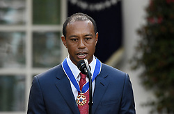 Golf legend Tiger Woods speaks after receiving the Presidential Medal of Freedom during a ceremony in the Rose Garden at the White House, May 6, 2019 in Washington, DC. Photo by Olivier Douliery/ABACAPRESS.COM