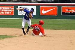 15 February 2007: Ryan Bond gets the ball to late to apply thetagto Matt Bolt who slides safely into 2nd base.  Indiana State Sycamores gave up the first game of the double-header by a score of 16-6 to the Illinois State Redbirds at Redbird Field on the campus of Illinois State University in Normal Illinois.