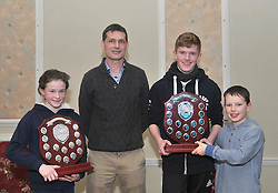 Roisin O'Brien , Ethan Lloyd and Conall Dawson  were awarded Most Improved young Athlete award from Paul McNamara Regional Athletics Officer Athletics Ireland at the Westport AC awards. (Jack Dawson collected on behalf of Conall). Pic Conor McKeown