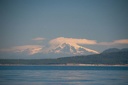 Lenticular Cloud Over Mt. Baker from Haro Strait, San Juan Islands, Washington, US