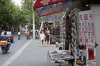 News stand and street scene in Shanghai China