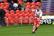 Doncaster Rovers midfielder Matty Blair (17) kicks forward  during the EFL Sky Bet League 1 match between Doncaster Rovers and Scunthorpe United at the Keepmoat Stadium, Doncaster, England on 17 September 2017. Photo by Ian Lyall.