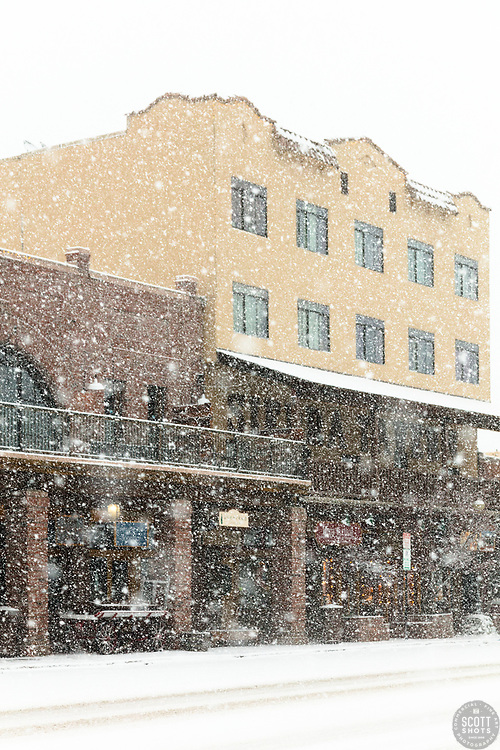 """Downtown Truckee 50"" - Photograph of historic Downtown Truckee, California shot during a snow storm."