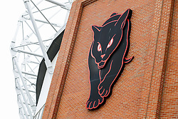 """A """"Black Cats"""" logo representing Sunderland's nickname is seen  outide the Stadium of Light  - Photo mandatory by-line: Rogan Thomson/JMP - 07966 386802 - 27/08/2014 - SPORT - FOOTBALL - Sunderland, England - Stadium of Light - Sunderland v Swansea City - Barclays Premier League."""