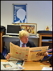 London Mayor Boris Johnson in his campaign office during the Mayoral Campaign, London, UK, April 18, 2012. Photo By Andrew Parsons / i-Images.