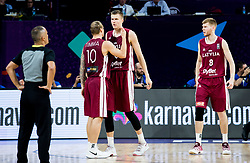 Janis Timma of Latvia, Kristaps Porzingis of Latvia, Davis Bertans of Latvia during basketball match between National Teams of Slovenia and Latvia at Day 13 in Round of 16 of the FIBA EuroBasket 2017 at Sinan Erdem Dome in Istanbul, Turkey on September 12, 2017. Photo by Vid Ponikvar / Sportida