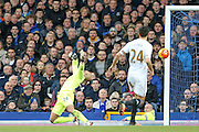 Everton goalkeeper Tim Howard  can't stop Swansea City forward Andre Ayew  from scoring during the Barclays Premier League match between Everton and Swansea City at Goodison Park, Liverpool, England on 24 January 2016. Photo by Simon Davies.
