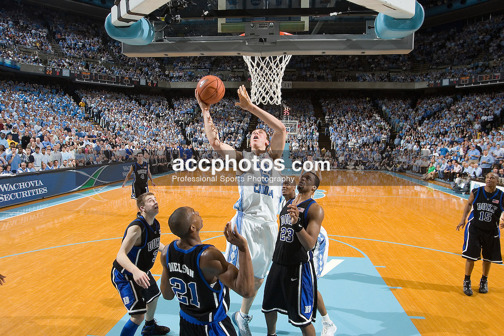 07 February 2006: Freshmen center Tyler Hansbrough (50) between Greg Paulus (3), DeMarcus Nelson (21) and Shelden Williams (23) during a Duke Blue Devils 87-83 victory over the North Carolina Tarheels, in the Dean Smith Center in Chapel Hill, NC.