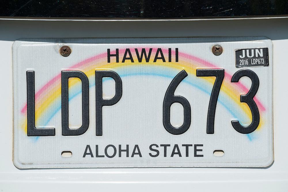 USA, Hawaii,Kauai,Lihue, Hawaii license plate