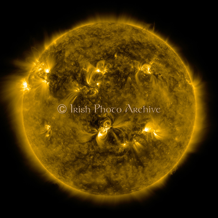 Image taken by SDO's AIA instrument at 171 Angstrom shows the current conditions of the quiet corona and upper transition region of the Sun. SDO is the first mission in a NASA science program called Living With a Star, the goal of which is to develop the scientific understanding necessary to address those aspects of the sun-Earth system that directly affect our lives and society.