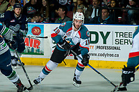 KELOWNA, CANADA - APRIL 30: Dillon Dube #19 of the Kelowna Rockets skates against the Seattle Thunderbirds on April 30, 2017 at Prospera Place in Kelowna, British Columbia, Canada.  (Photo by Marissa Baecker/Shoot the Breeze)  *** Local Caption ***