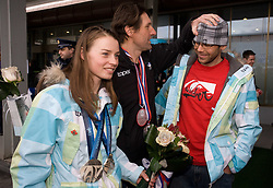 Slovenian 2-times silver medalist alpine skier Tina Maze, Coaches Andrea Massi and Andrej Perovsek at arrival to Airport Joze Pucnik from Vancouver after Winter Olympic games 2010, on February 28, 2010 in Brnik, Slovenia. (Photo by Vid Ponikvar / Sportida)